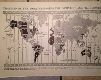 1947 Time Map of the World Vintage Illustration
