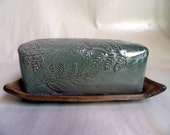 handmade Stoneware , covered Butter Dish, forest fern design