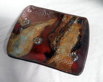 handmade dish, Stoneware trinket dish, multicolor textured