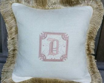 Pillow, Monogrammed, Fringe, Custom,