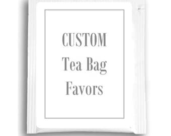 25 Custom Tea Bag Favors, Customized Tea Favors for Wedding Shower, Ladies Day, Business, or your special event