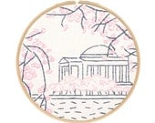 CHERRY BLOSSOMS in Washington DC embroidery kit - travel souvenir, hand embroidery kit, contemporary embroidery pattern by StudioMME