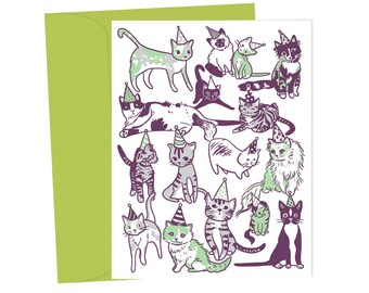 Party Cats in Party Hats - Blank Birthday Card - 1 pc