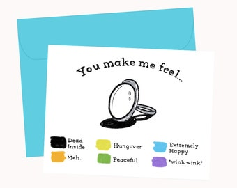 You Make Me Feel... mood ring coloring card - Blank Card - 1 pc