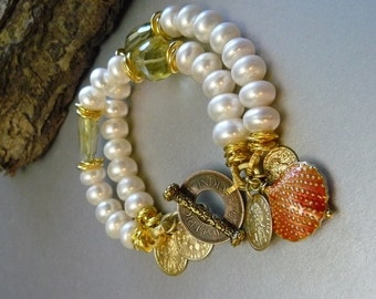 On A Sunny Day Charm Bracelet 10mm - White Freshwater Pearls - Golden Faceted Citrine - Shell - Coin Toggle - Classic  Sophisticated OOAK