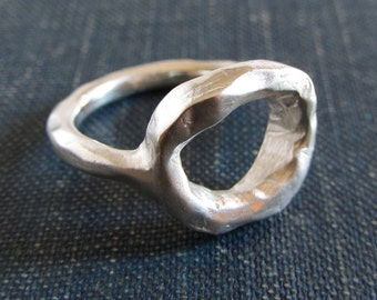 Rustic sterling silver circle ring // size 6.5 / statement ring / silver ring / unique ring / rough ring / rustic jewelry / unique jewelry