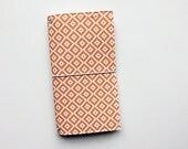 NEW - orange and white diamonds fauxdori fabric travelers notebook cover, notebook included