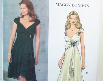Butterick B4657 Misses' Sewing Pattern,  Wrap Dress with Gathered Waist and Flared Skirt, Bridesmaid Dress, Maggy London Plus Size 14 - 20