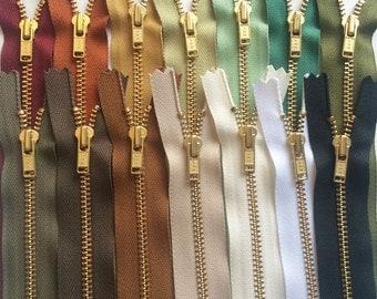 Metal Zippers- 7 inch closed bottom ykk brass teeth zips- (14) pieces - Desert Nomad Brass Sampler Pack
