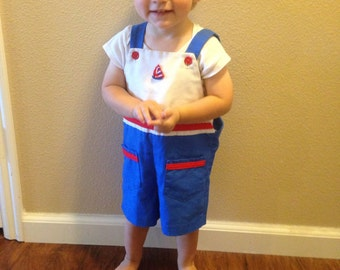 4t Vintage nautical short overall