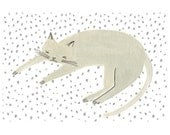 Sleeping Cat Light Grey Print