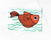 Gold Fish Note Card from Original Illustration