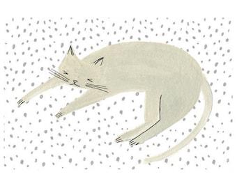 Sleeping Cat Light Grey Print