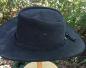 RESERVED Vintage Leather Canadian made wide brimmed hat