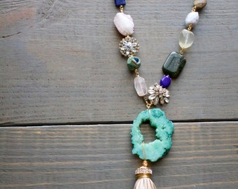 Druzy and Tassel Necklace, Gemstone Necklace, Brooch and Gemstone Necklace