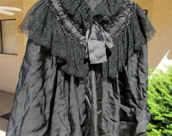 Antique Black Lace Beaded Mourning Capelet Vintage Cape Gothic Victorian Steampunk