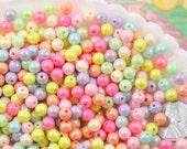 Pastel Beads - 6mm Ice Cream Pastel Colors Shiny AB Iridescent Small Round Shape Plastic or Acrylic Beads - 500 pcs set
