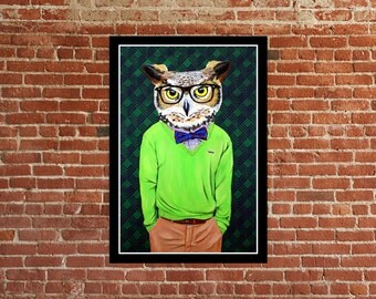 Owl Art, nerd glasses, mustache art, fashion art, urban art, street art, graffiti art, contemporary art, s/n print, cool owls, owl painting