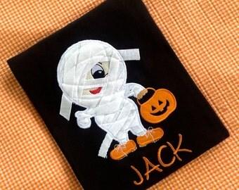 Personalized 3-D Halloween Mummy Applique Shirt,  Boys Mummy Shirt, 3-D Mummy Fall Embroidered Shirt, Fall 3-D Applique Shirt, LDM