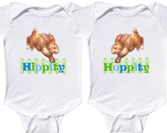 Twin Boys Easter Bodysuits Easter Tshirts by Mumsy Goose  Newborn Creepers to Kids Tees