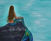 """Mermaid Art Print Mermaid Painting Print Mermaid Wall Art Ocean Fantasy Art Print Seascape """"Crescent Mermaids Moon"""" Leslie Allen Fine Art"""