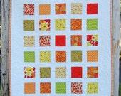 Orange Flowers Patchwork Baby Toddler Child Crib Quilt / Blanket - READY TO SHIP
