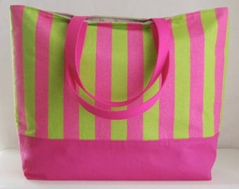 Candy Pink and Lime Stripe XL Extra Large BIG Tote Bag  / Beach Bag - Ready to Ship
