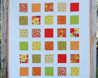 Orange Flowers Patchwork Baby Toddler Child Crib Quilt / Blanket - READY TO SHIP