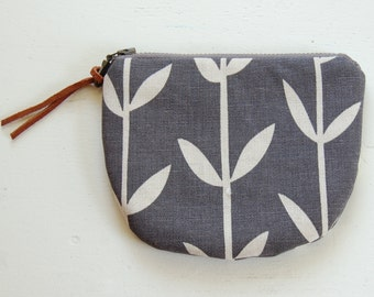 Branches on Grey Padded Round Zipper Pouch / Coin Purse / Gadget / Cosmetic Bag - READY TO SHIP