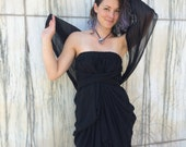 RESERVED JEFF Authentic Dolce Gabbana Made in Italy Label Black Silk Chiffon Grecian Drape Maxi Gown  m