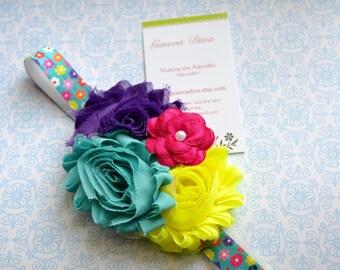 Bright Flowers Triple Shabby Chiffon Chevron Stretch Headband