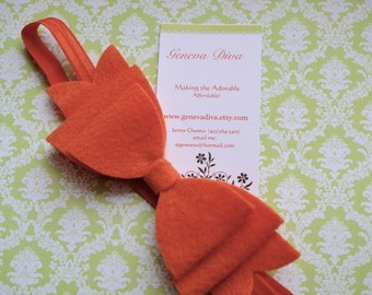 NEW-Orange Felt Bow Stretch Headband