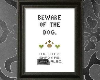 Beware of the Dog MATURE Cross-Stitch Pattern