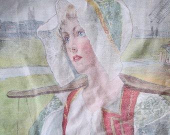 Antique c1900 Art Nouveau Printed Linen Pillow