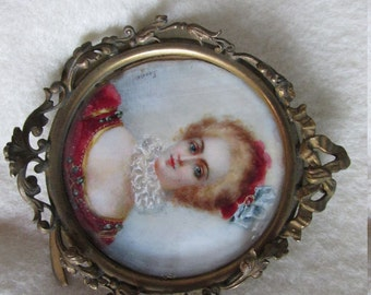 Antique Miniature Painting of Lady, Watercolor