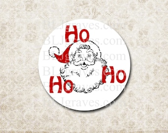 Santa Christmas Stickers, Holiday Stickers Ho Ho Ho Party Favor Treat Bag Stickers CS007