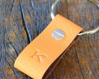 Monogrammed Clementine and Saddle Leather Keychain - Short & Wide Style