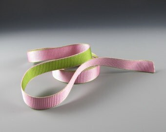 "5/8"" and 1.25""  PINK GREEN WEDDING Grosgrain Ribbon  Wholesale  20 yards"