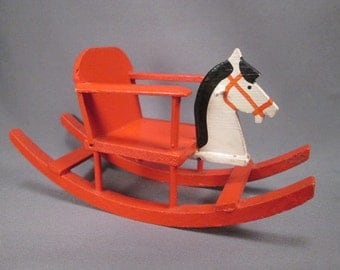 "Vintage German Dollhouse Furniture - Child's Rocker or Shoofly with Horse Head - Larger 1"" Scale"
