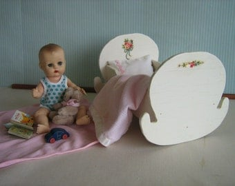 Vintage 50s White w/ Decals Cradle for Small Dolls-Possibly Grey House Creations for Madame Alexander