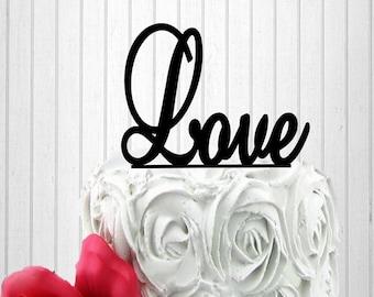 Love Cake Topper - Wedding Cake Topper - Monogram Cake Topper - Bride and Groom - Custom Cake Topper