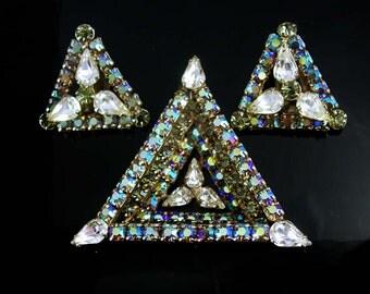 Statement demi Parure Vintage Large dimensional Pendant Clip on earrings Aurora borealis RHINESTONE set