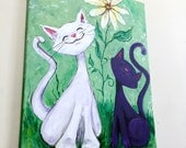 "It's Great To Be A Cat - acrylic painting on canvas - happy cats - black cat - white cat - 16"" x 20"