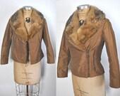 Fox Fur SKI Jacket / 1980s fitted brown coat / XS-S