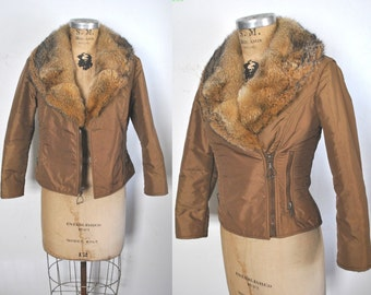 Fox Fur SKI Jacket / 1980s fitted brown coat / XS-S