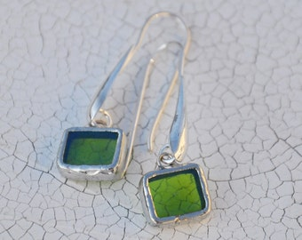 Iridescent green square earrings