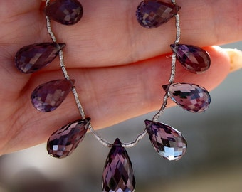 RaRe Large 11.5-12X6.5mm AAA Czochralski Color Change Alexandrite Tear Drop cut Briolette Beads Focal Pendant Matching Pair