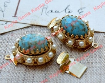Vintage Glass Turquoise Jewel Clasp Oval Crown Setting with Pearls 14K Gold Plated  - 1 piece
