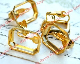 Vintage 18x13 Octagon Earring Setting Clip on Cabochon Cab Open Back - 1 Pair