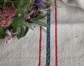 Nr. A248 a:  antique handloomed   BLUE and RED chunky grain sack for pillows cushions runners 22.83 wide
